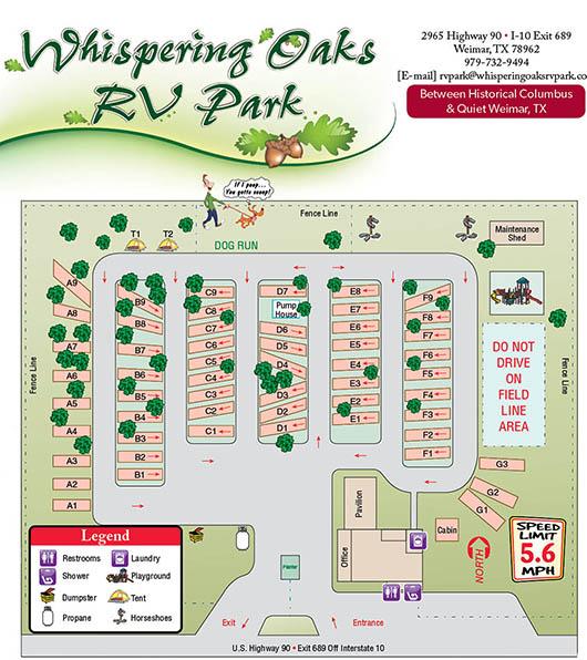 whispering oaks rv park - sitemap 2016